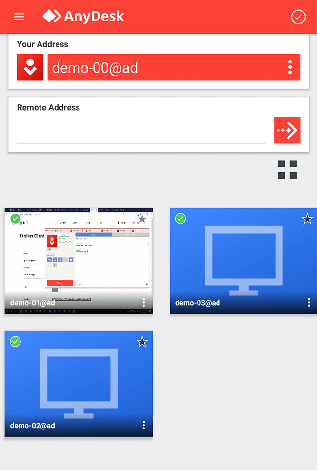 The AnyDesk home window with your address on Android.