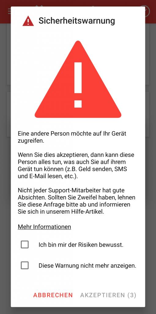 Die AnyDesk-Sicherheitswarnung für Android
